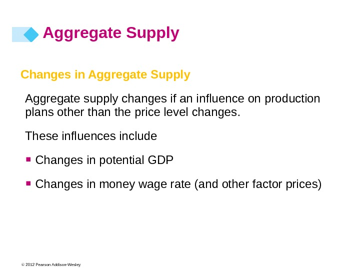 © 2012 Pearson Addison-Wesley. Changes in Aggregate Supply Aggregate supply changes if an influence on production