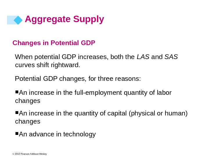 © 2012 Pearson Addison-Wesley Changes in Potential GDP When potential GDP increases, both the LAS and