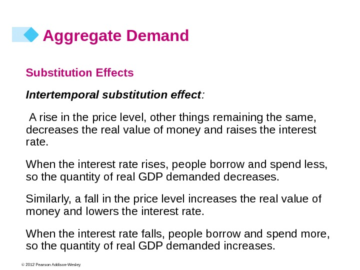 © 2012 Pearson Addison-Wesley Aggregate Demand Substitution Effects  Intertemporal substitution effect :  A rise