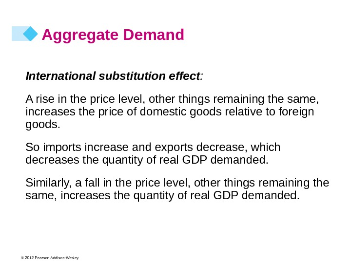 © 2012 Pearson Addison-Wesley Aggregate Demand International substitution effect : A rise in the price level,