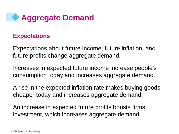 © 2012 Pearson Addison-Wesley Aggregate Demand Expectations about future income, future inflation, and future profits change