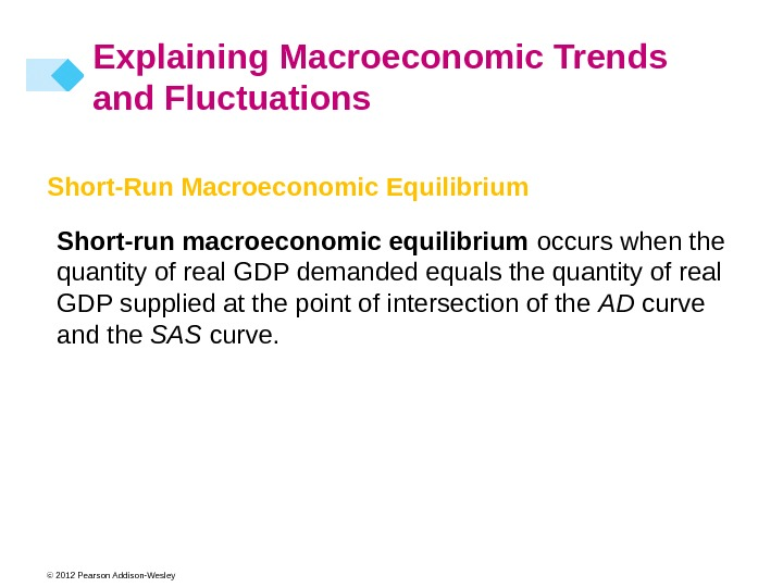 © 2012 Pearson Addison-Wesley Explaining Macroeconomic Trends and Fluctuations Short-Run Macroeconomic Equilibrium Short-run macroeconomic equilibrium occurs