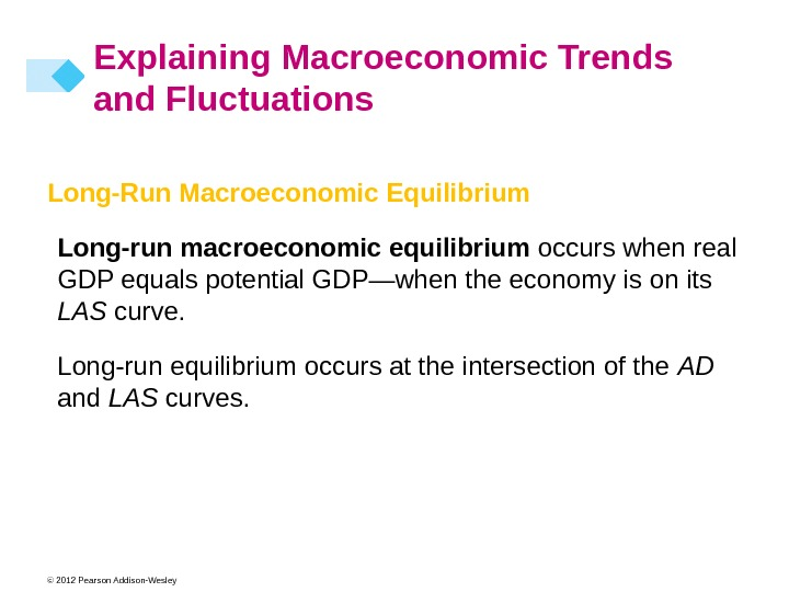 © 2012 Pearson Addison-Wesley Long-Run Macroeconomic Equilibrium Long-run macroeconomic equilibrium occurs when real GDP equals potential