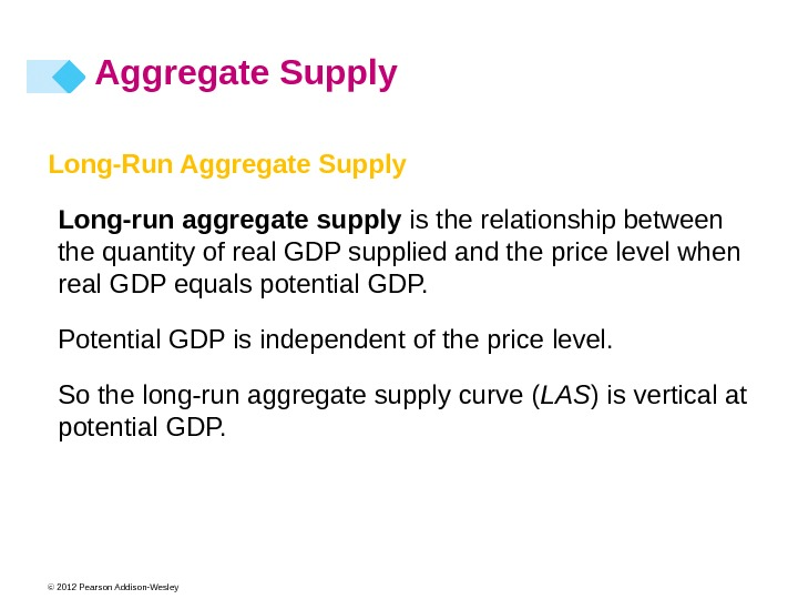 © 2012 Pearson Addison-Wesley Long-Run Aggregate Supply Long-run  aggregate supply is the relationship between the