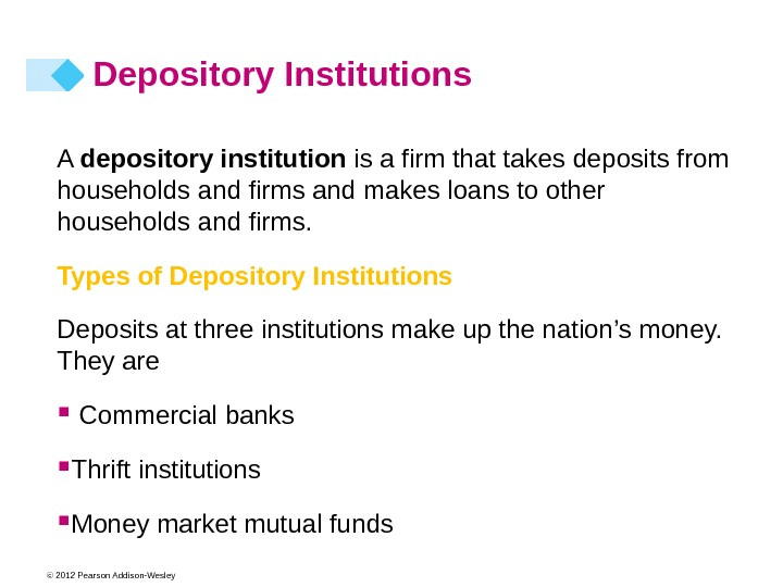 © 2012 Pearson Addison-Wesley Depository Institutions A depository institution is a firm that takes deposits from