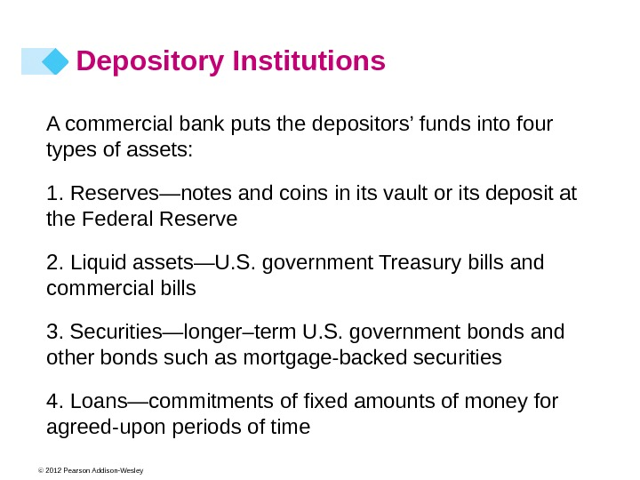 © 2012 Pearson Addison-Wesley A commercial bank puts the depositors' funds into four types of assets: