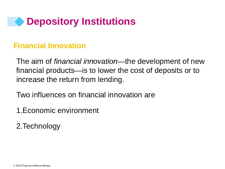 © 2012 Pearson Addison-Wesley Financial Innovation The aim of financial innovation —the development of new financial