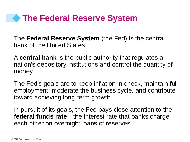 © 2012 Pearson Addison-Wesley The Federal Reserve System (the Fed) is the central bank of the