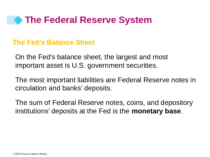 © 2012 Pearson Addison-Wesley The Fed's Balance Sheet On the Fed's balance sheet, the largest and