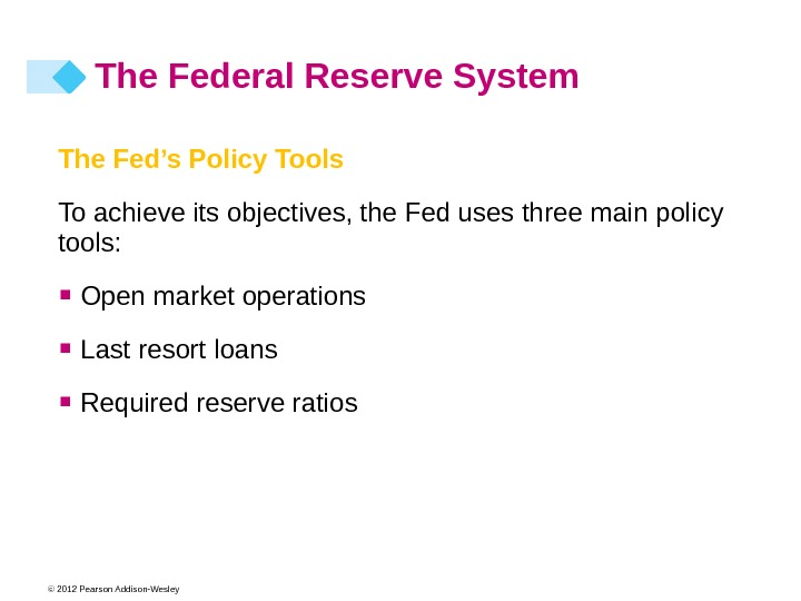 © 2012 Pearson Addison-Wesley The Fed's Policy Tools To achieve its objectives, the Fed uses three