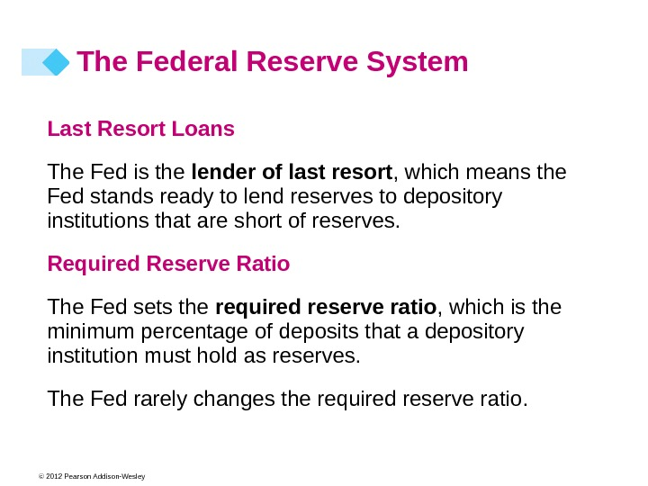 © 2012 Pearson Addison-Wesley Last Resort Loans The Fed is the lender of last resort ,