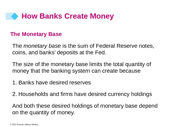 © 2012 Pearson Addison-Wesley The Monetary Base The monetary base is the sum of Federal Reserve