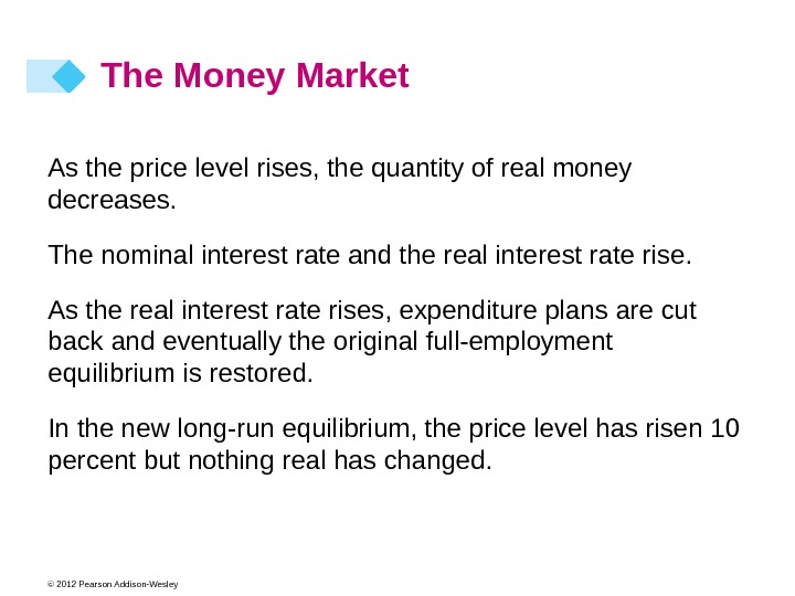 © 2012 Pearson Addison-Wesley As the price level rises, the quantity of real money decreases. The
