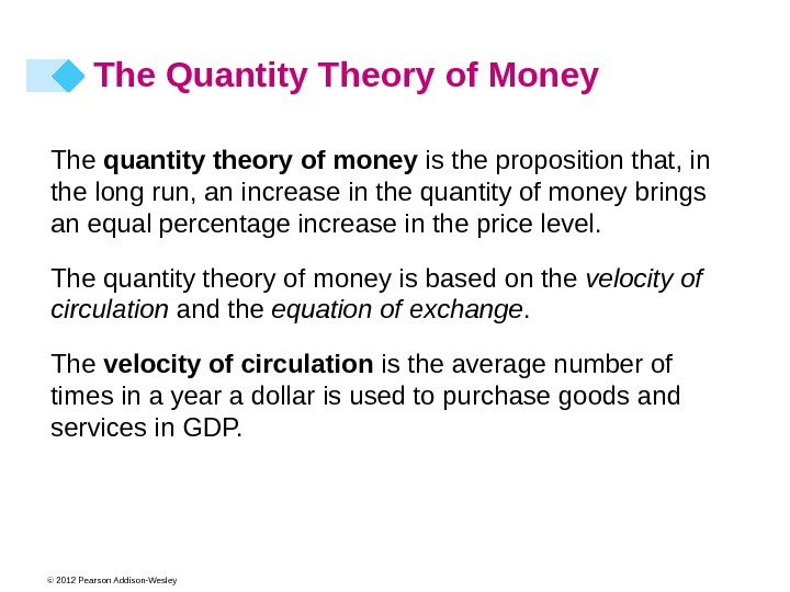 © 2012 Pearson Addison-Wesley The Quantity Theory of Money The quantity theory of money is the