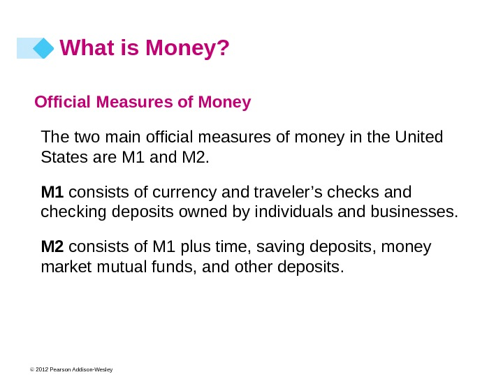 © 2012 Pearson Addison-Wesley Official Measures of Money The two main official measures of money in