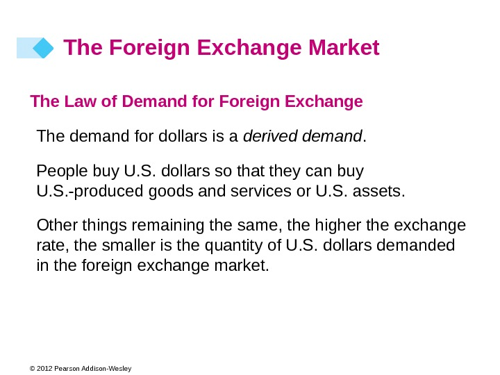 © 2012 Pearson Addison-Wesley The Law of Demand for Foreign Exchange The demand for dollars is