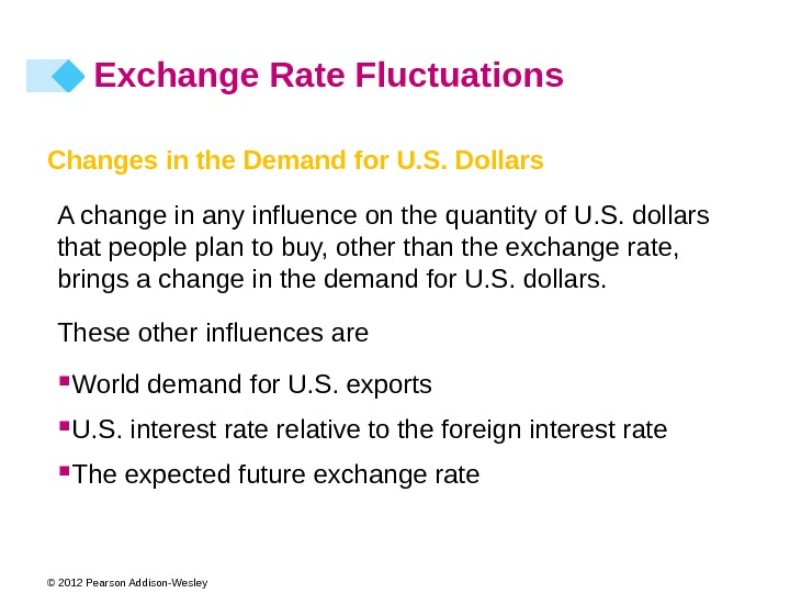 © 2012 Pearson Addison-Wesley Exchange Rate Fluctuations Changes in the Demand for U. S. Dollars A