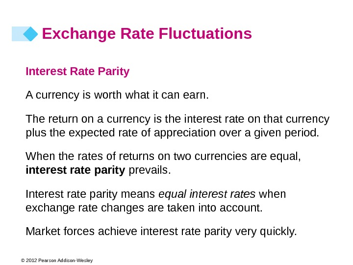 © 2012 Pearson Addison-Wesley Interest Rate Parity A currency is worth what it can earn. The