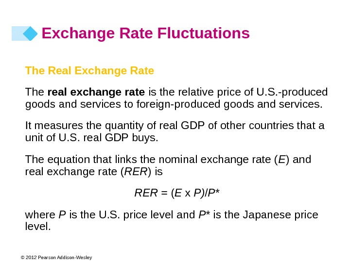 © 2012 Pearson Addison-Wesley The Real Exchange Rate The real exchange rate is the relative price