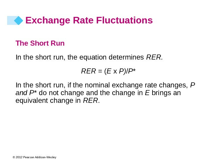 © 2012 Pearson Addison-Wesley The Short Run In the short run, the equation determines RER =