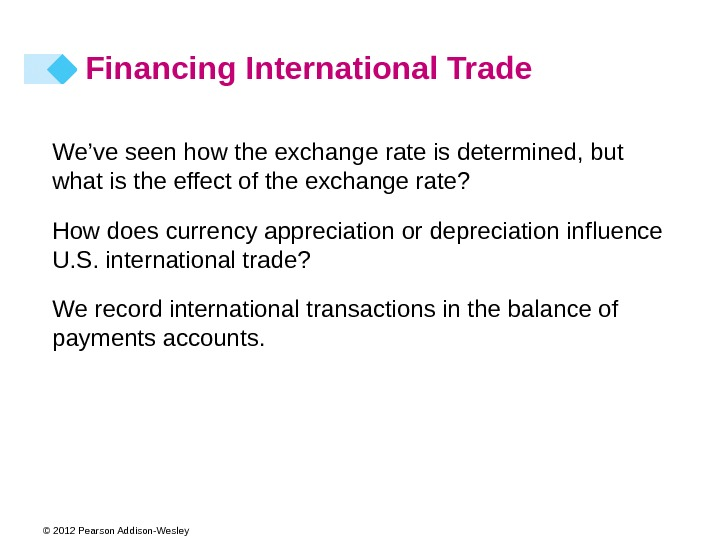 © 2012 Pearson Addison-Wesley Financing International Trade We've seen how the exchange rate is determined, but