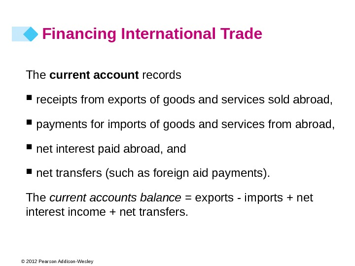 © 2012 Pearson Addison-Wesley The current account records receipts from exports of goods and services sold