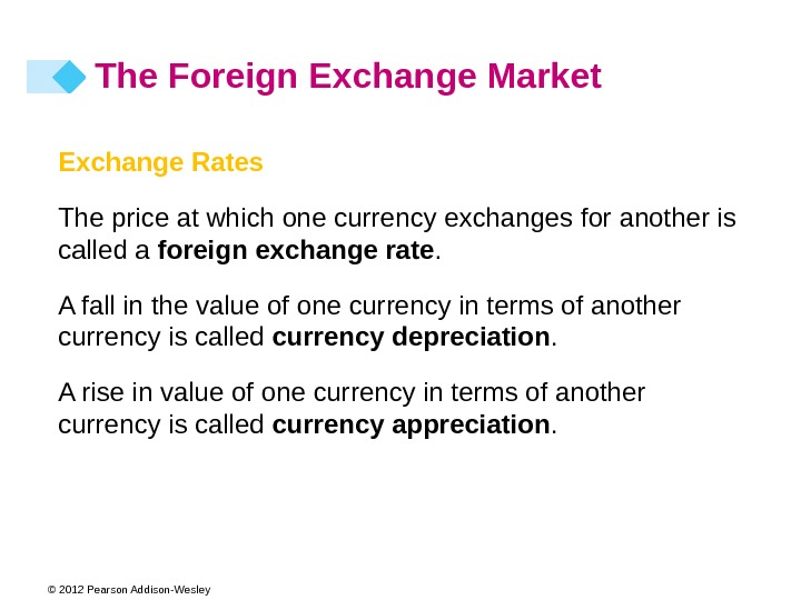 © 2012 Pearson Addison-Wesley Exchange Rates The price at which one currency exchanges for another is