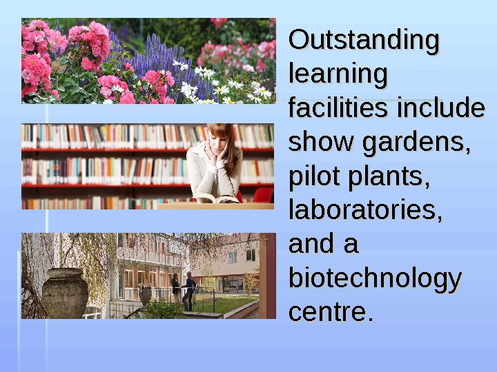 Outstanding learning facilities include show gardens,  pilot plants,  laboratories,  and a biotechnology centre.