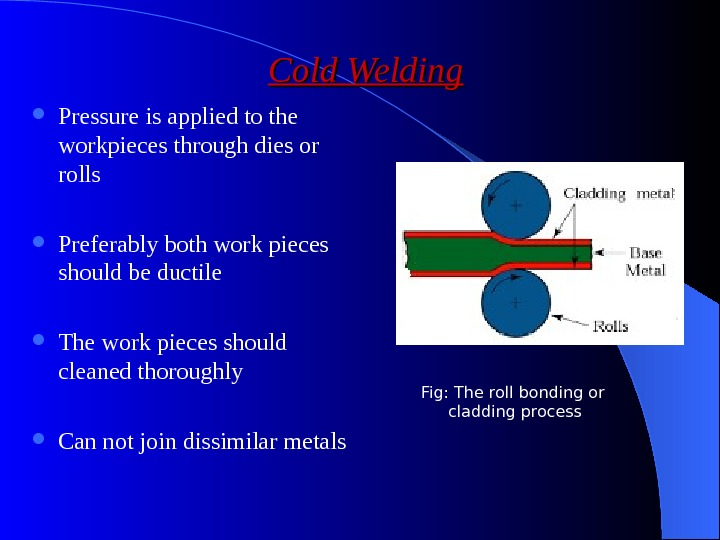 Cold Welding Pressure is applied to the workpieces through dies or rolls Preferably both work pieces