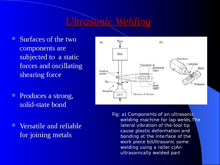 Ultrasonic Welding Surfaces of the two components are subjected to a static forces and oscillating shearing