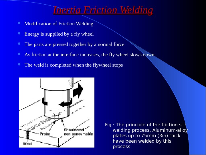 Inertia Friction Welding Modification of Friction Welding Energy is supplied by a fly wheel The parts