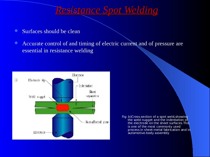 Surfaces should be clean Accurate control of and timing of electric current and of pressure