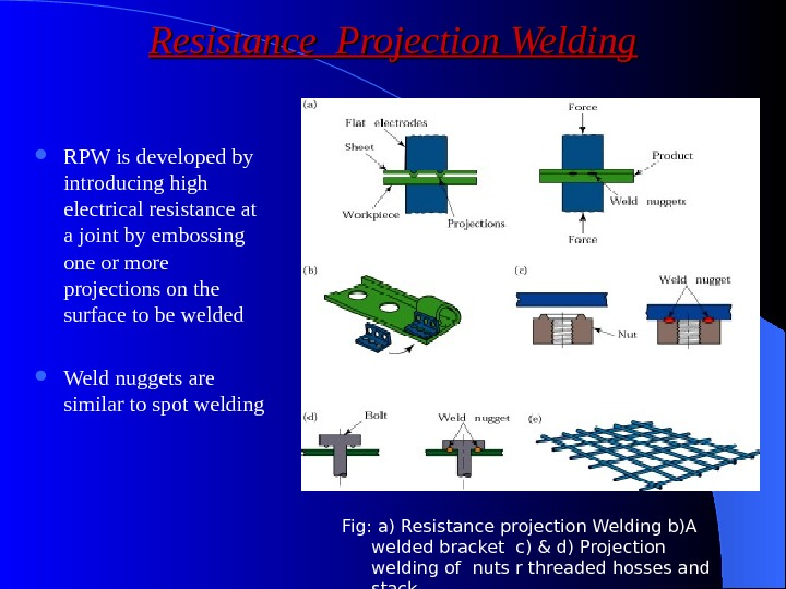 Resistance Projection Welding RPW is developed by introducing high electrical resistance at a joint by embossing