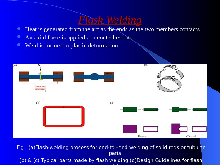Flash Welding Heat is generated from the arc as the ends as the two members contacts