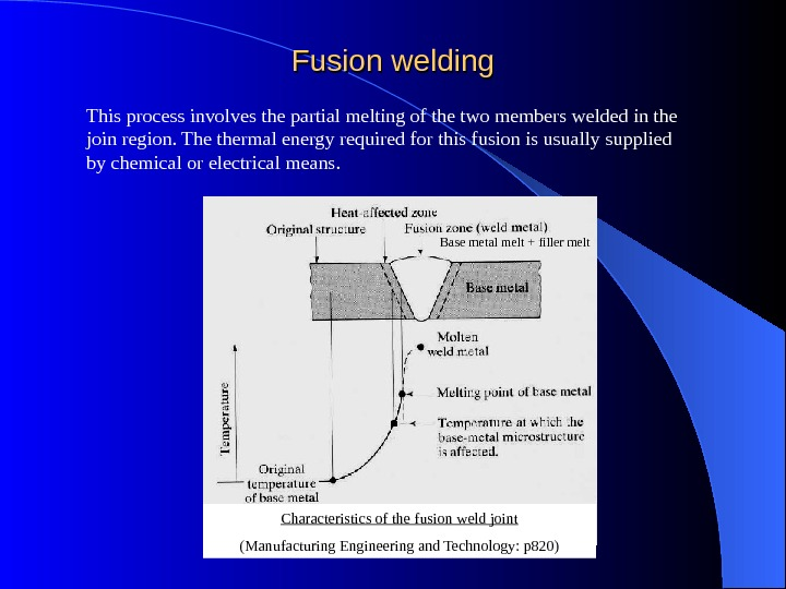 Fusion welding This process involves the partial melting of the two members welded in the join