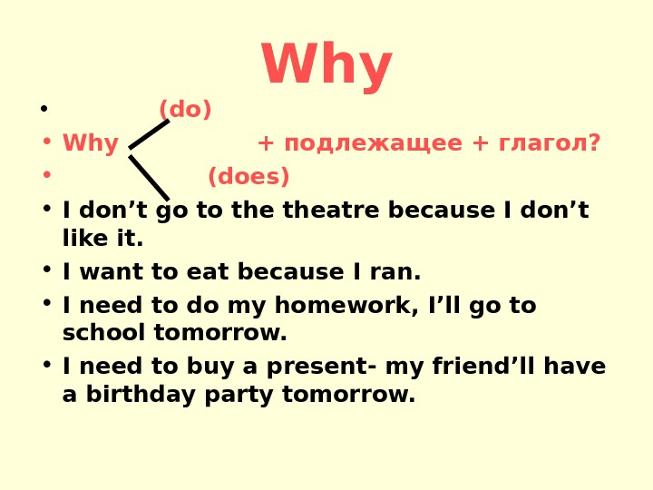 Why •   (do) • Why    + подлежащее + глагол?  •
