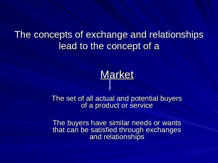 The concepts of exchange and relationships lead to the concept of a Market The set