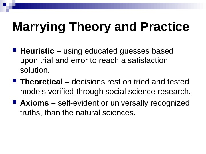Marrying Theory and Practice Heuristic – using educated guesses based upon trial and error