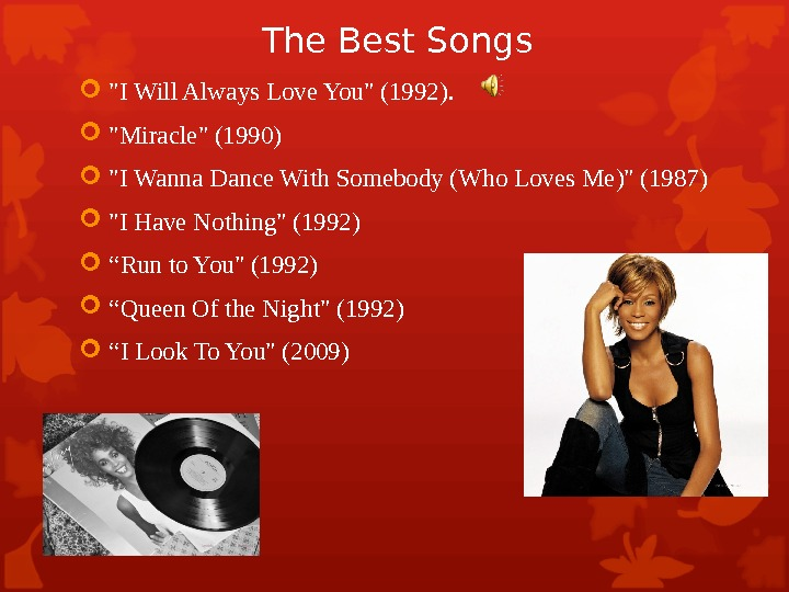 The Best Songs I Will Always Love You (1992).  Miracle (1990) I Wanna Dance With