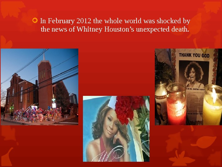 In February 2012 the whole world was shocked by the news of Whitney Houston's unexpected