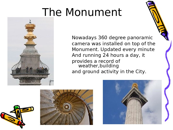 The Monument Nowadays 360  degree panoramic camera was installed  on top of