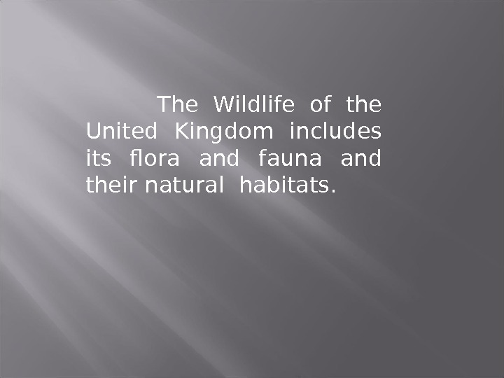 The Wildlife of the United Kingdom includes its flora and fauna and their