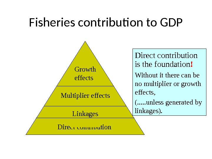 Fisheries contribution to GDP Direct contribution Linkages. Multiplier effects Growth effects Direct contribution is the foundation