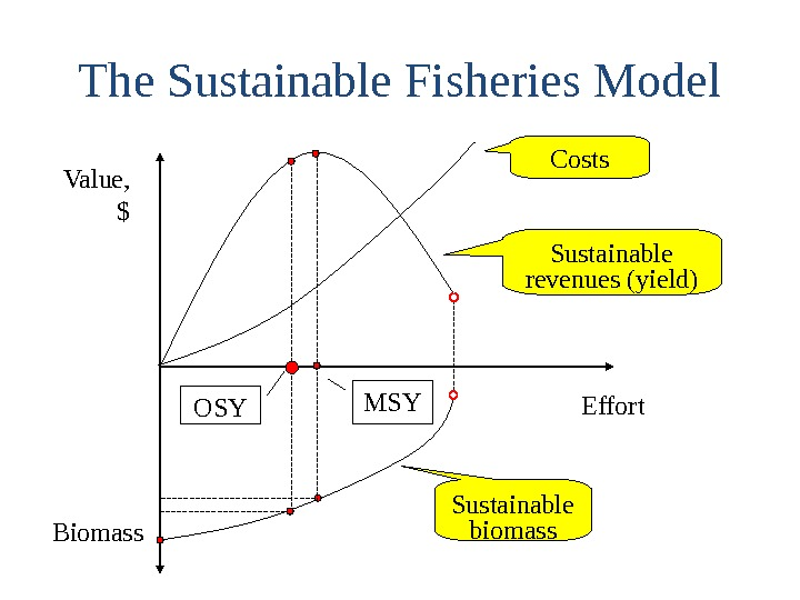 The Sustainable Fisheries Model Value, $ Effort Biomass Costs Sustainable revenues (yield) Sustainable biomass. MSY OSY