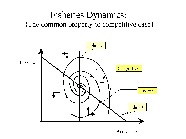 Fisheries Dynamics :  (The common property or competitive case ) Biomass, x. Effort, e Competitive