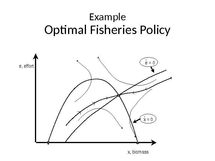 Example Optimal Fisheries Policye, effort x, biomass e = 0 x = 0. .