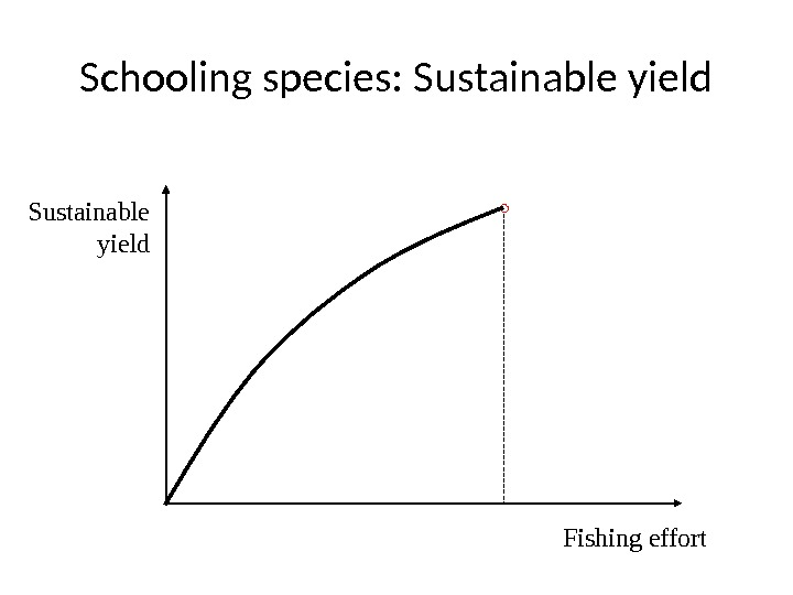 Schooling species: Sustainable yield Sustainable  yield Fishing effort