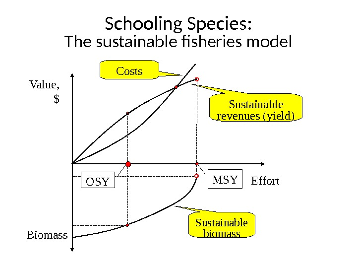 Schooling Species: The sustainable fisheries model Value, $ Effort Biomass Costs Sustainable revenues (yield) Sustainable biomass