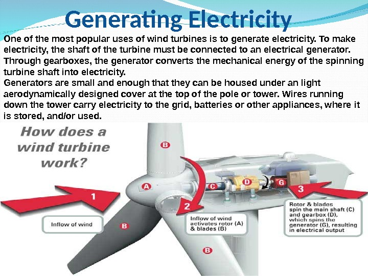 Generating Electricity One of the most popular uses of wind turbines is to generate electricity. To