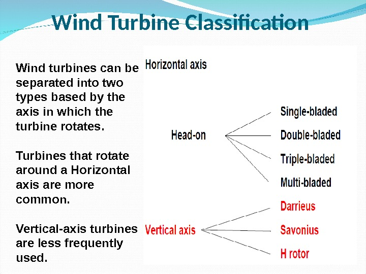 Wind Turbine Classification Wind turbines can be separated into two types based by the axis in